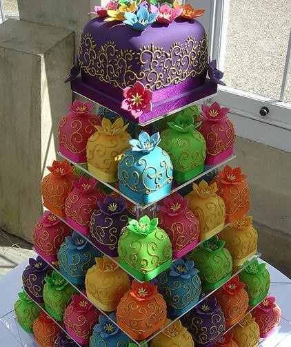 Colorful Indian Theme Wedding Cake