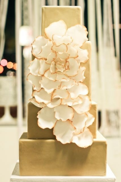 Gold, Square Wedding Cake