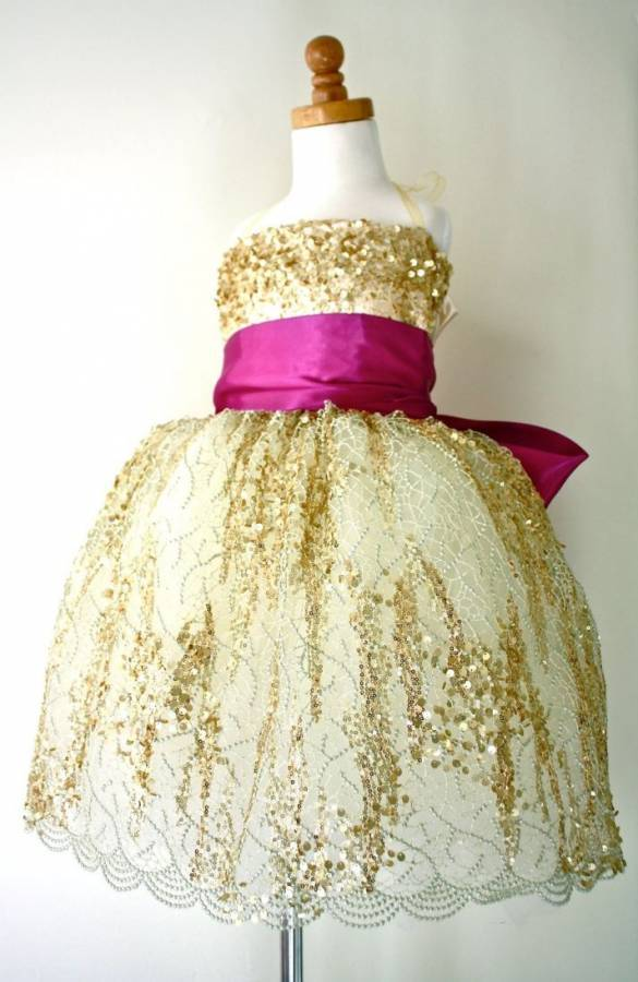 Gold and Fuchsia Flower Girl Dress