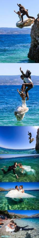 Bride and Groom Jumping off Cliff
