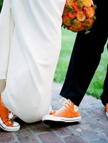 Orange Converse Wedding Shoes