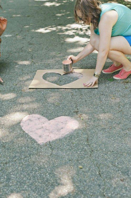 Outdoor Wedding Décor: Hearts on Concrete