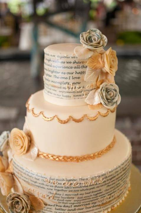 Book Page Theme Wedding Cake