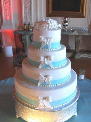 Tiffany Blue and White Bow Wedding Cake
