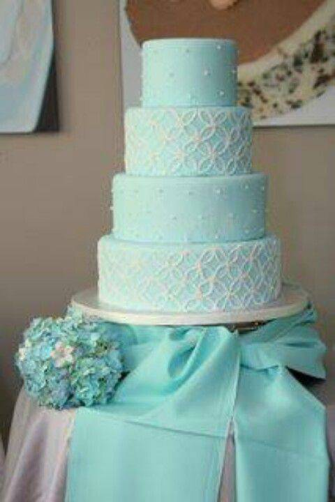 Tiffany Blue and White Piped Wedding Cake