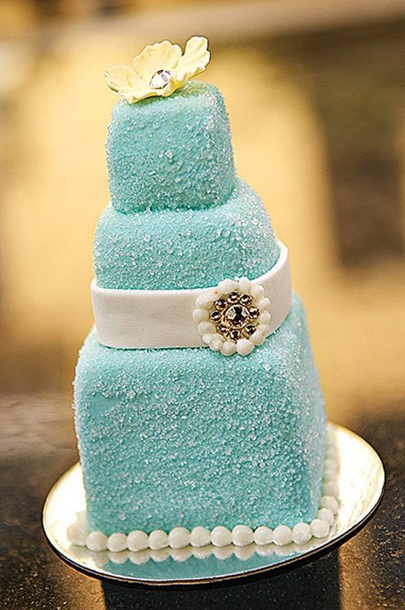 Frosty Tiffany Blue Wedding Cake