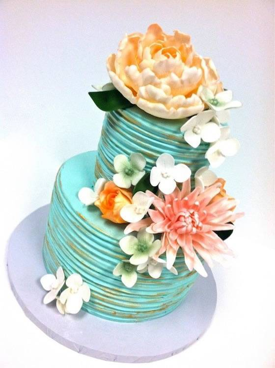 Two Tier Distress Style Wedding Cake