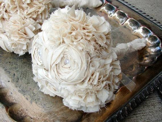 Shabby Chic Fabric Flower Bouquet