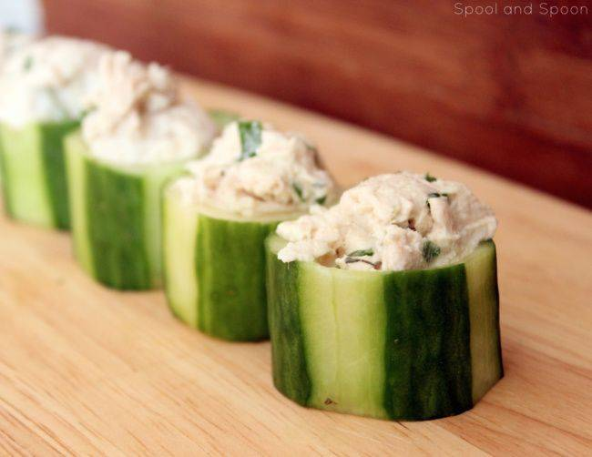 Chicken Salad Cucumber Cups