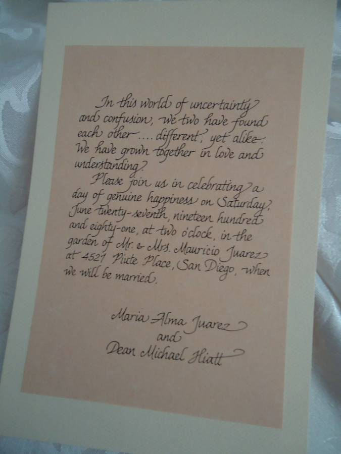 Beautiful Handwritten Wedding Invitations