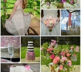 Blush, Gold & Glam Inspiration Shoot collage