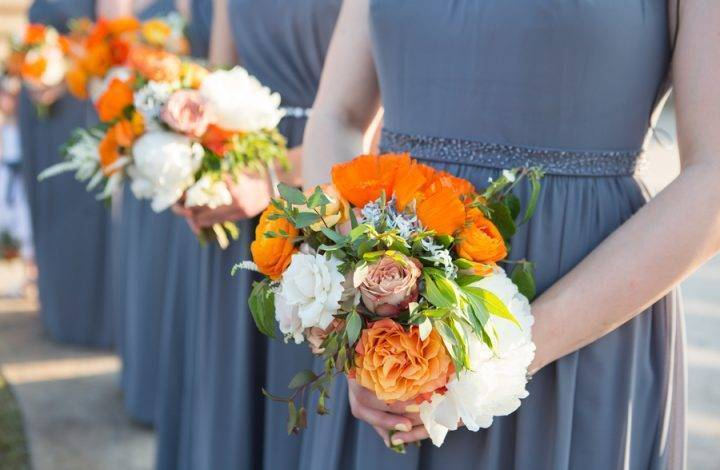 Orange and Gray Spring Wedding